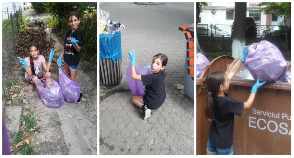 Fata din SUA care strange gunoaie in Galati e un erou! Povestea Emei, de 9 ani, trebuie citita de toti parintii si copiii